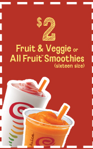 $2 Fruit & Veggie or All Fruit Smoothies (sixteen size)