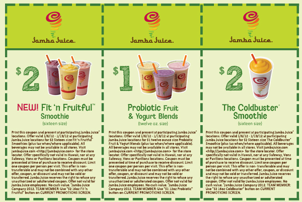 Click for printable version: $2 Fit 'n Fruitful, $1 Probiotic Fruit and Yogurt Blends, $2 The Coldbuster Smoothie