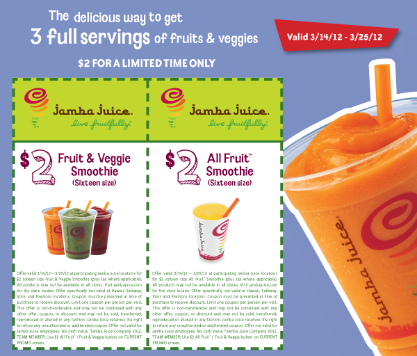 $2 Fruit & Veggie and All Fruit Smoothies from March 14 to 25. Click for Printable Coupons.
