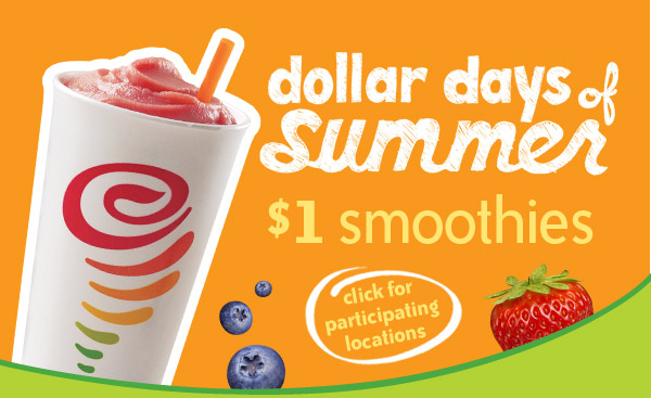 $1 Smoothies, Every day from 9-11AM, August 6-10
