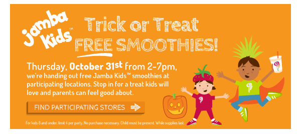 Free Jamba Kids Smoothies on October 31